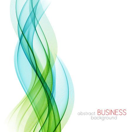 抽象的なベクトルの背景、青と緑の透明なパンフレット、ウェブサイト、フライヤーのデザインのラインを振った。 青い煙の波。青と緑の波線の背  イラスト・ベクター素材