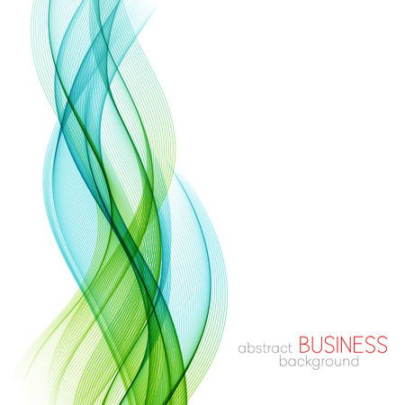 Abstract vector background, blue and green transparent waved lines for brochure, website, flyer design.  Blue smoke wave. Blue and green  wavy background Ilustração