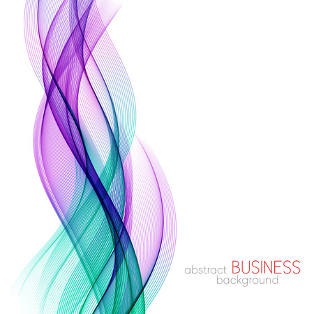 Abstract vector background, blue and purple transparent waved lines for brochure, website, flyer design.  Blue smoke wave. Blue and purple wavy background Ilustração
