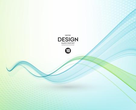 抽象的なベクトルの背景、青と緑の透明なパンフレット、ウェブサイト、フライヤーのデザインのラインを振った。 ブルー グリーン煙ウェーブ。青