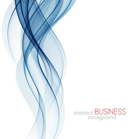 Abstracte vectorachtergrond, blauwe transparante gegolfte lijnen voor brochure, website, vliegerontwerp. Blauwe rookgolf. Blauwe golvende achtergrond