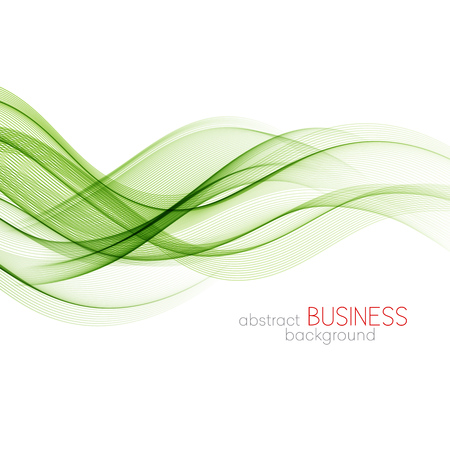 Abstract green wavy lines. Colorful vector background Vektorové ilustrace