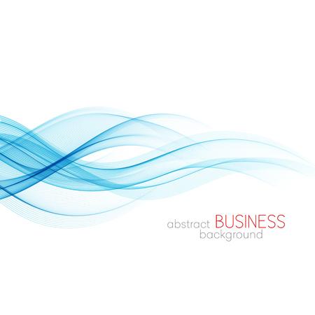 추상적 인 벡터 배경, 투명 블루 브로셔, 웹 사이트, 전단지 디자인을위한 라인을 흔들었다. 푸른 연기 파도입니다. 파란색 물결 모양의 배경