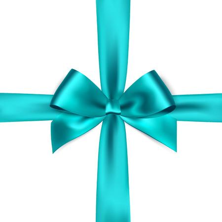 bow ribbon: Shiny blue satin ribbon on white background. Vector blue bow. Blue bow and blue ribbon Illustration