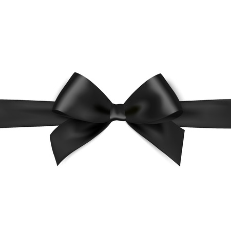 Shiny black satin ribbon on white background. Vector black bow. Black bow and black ribbon