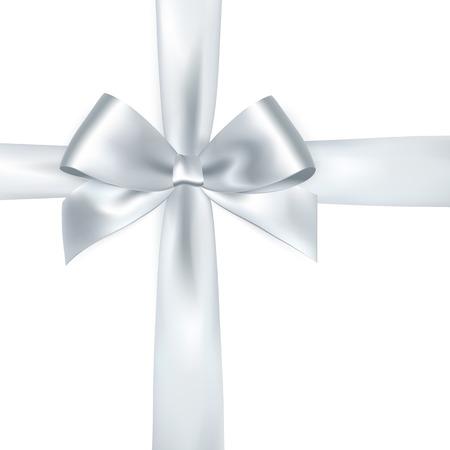 Shiny nastro di raso bianco su sfondo bianco. Vector Silver Bow e il nastro Vettoriali