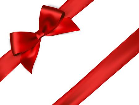光沢のある白い背景に赤いサテンのリボン。ベクトル赤弓。赤いリボンと赤いリボン
