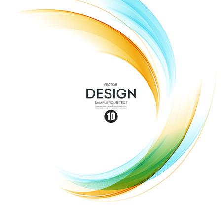 抽象的な波のデザイン要素。オレンジと青の波