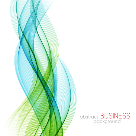 Abstract vector background, blue and green transparent waved lines for brochure, website, flyer design.  Blue smoke wave. Blue and green  wavy background Stock Illustratie