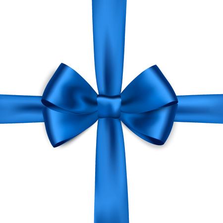 brillante cinta de raso azul sobre fondo blanco. Vector arco azul. arco azul y cinta azul Ilustración de vector