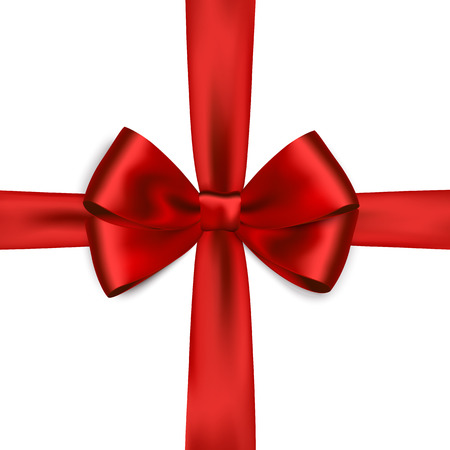 red ribbon bow: Shiny red satin ribbon on white background. Vector red bow. Red bow and red ribbon