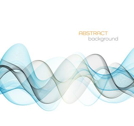 抽象的なベクトルの背景、パンフレット、ウェブサイト、フライヤーのデザインの青い透明な振られる線。 青と灰色の煙の波。青色の波線の背景  イラスト・ベクター素材
