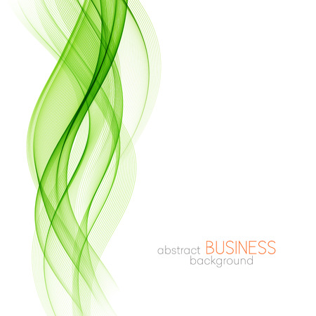 Abstract green wavy lines. Colorful background green wave