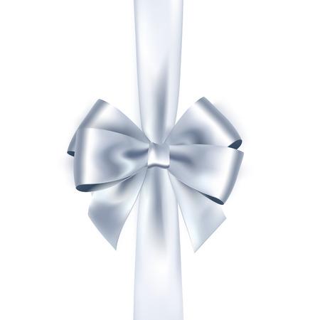white ribbon: Shiny white satin ribbon on white background. silver bow and ribbon Stock Photo