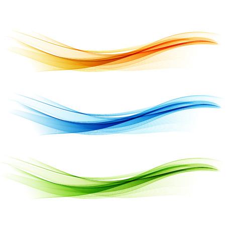 抽象的な波のデザイン要素を設定します。黄色、青、緑の波