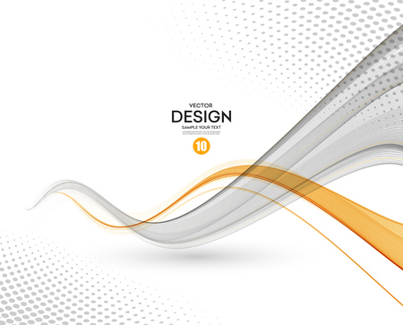Abstract background, gray and orange waved lines for brochure, website, flyer design. illustration 스톡 콘텐츠