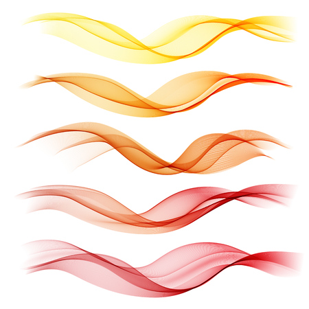 Set abstract color wave. Color smoke wave. Transparent wave. Abstract smooth wave vector. Red wave. Wave orange. Smoke yellow wave. Vector Abstract lines. Vectores