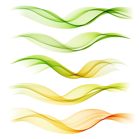 wave: Set abstract color wave. Color smoke wave. Transparent wave. Abstract smooth wave vector. Smoke green wave. Vector yellow wave. Orange wave lines. Vector Abstract lines.