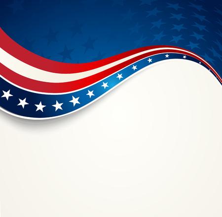 愛国心が強い波の背景。アメリカの国旗。独立記念日バナー