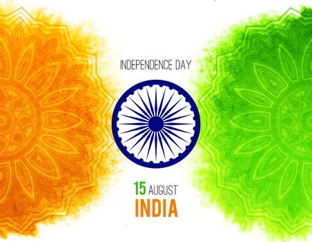 Concepto indio creativa Día de la Independencia con la rueda de Ashoka y estampado de flores decorativo en tricolores de la bandera nacional. Foto de archivo - 61288164