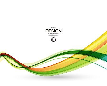 lignes ondulées colorées. Abstract background. Green wave et orange.