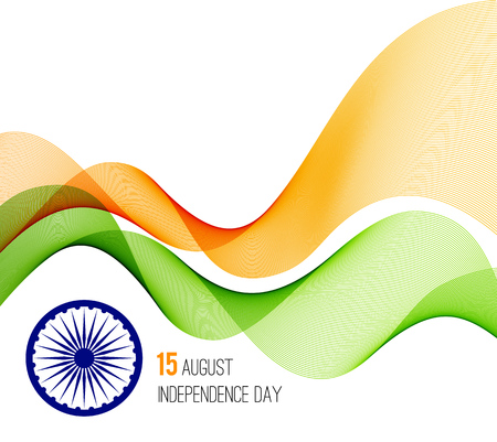 tricolors: Indian Independence Day concept background with Ashoka wheel in national flag tricolors.  Illustration
