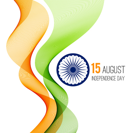 Indian Independence Day concept background with Ashoka wheel in national flag tricolors. Illustration