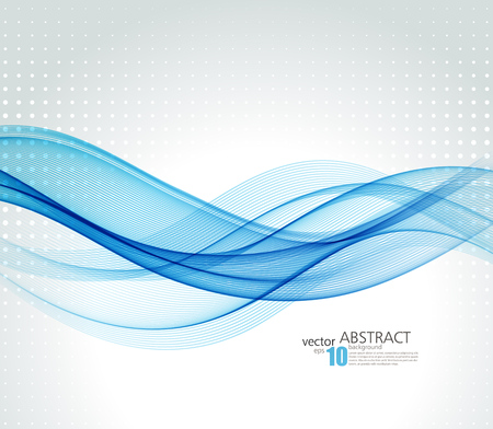 blue wave: Abstract background, blue transparent waved lines for brochure