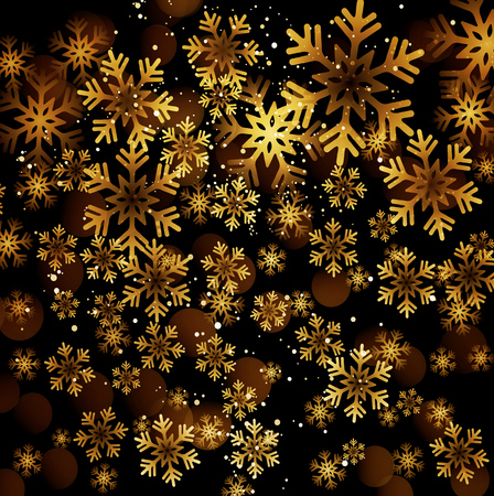 greeting cards: Golden snowflake on a dark background Illustration