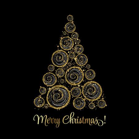 christmas tree illustration: illustration gold Christmas tree