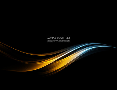 Vector Abstract shiny color gold wave design element on dark background. Science or technology design Vettoriali