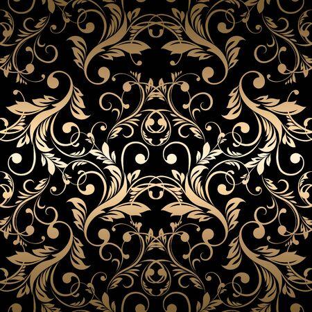 vintage: Luxury golden wallpaper. Vintage seamless damask pattern Vector background.
