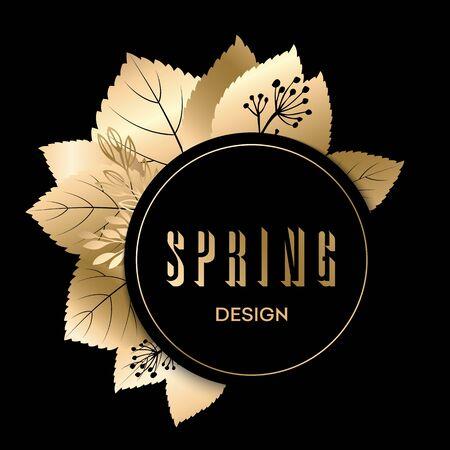 gold frame: Golden spring design. Vector illustration. Big spring sale.