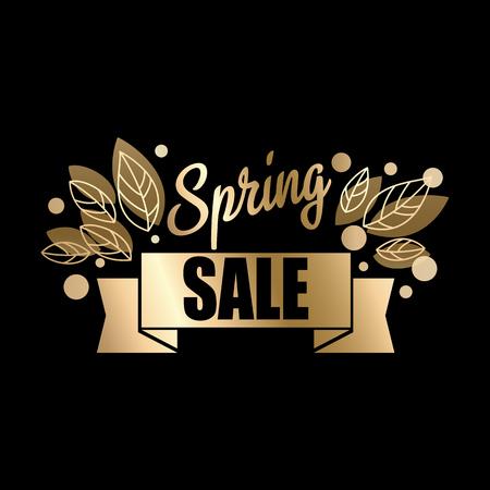 Golden spring design. Vector illustration. Big spring sale.