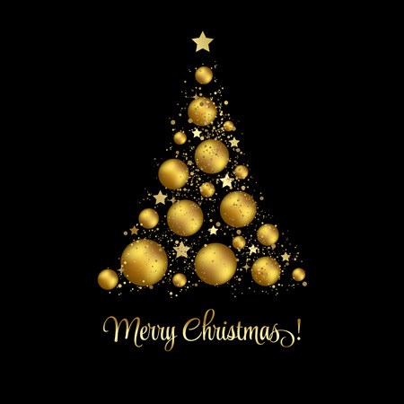 elegant Christmas background with gold baubles Archivio Fotografico