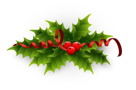 Vector Christmas holly berries and tinsel Ilustração