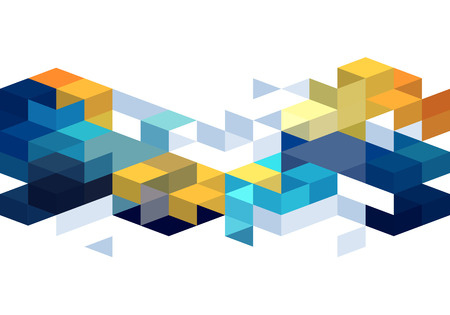 Abstract background with orange and blue color cubes for design brochure, website, flyer. EPS10 Vettoriali
