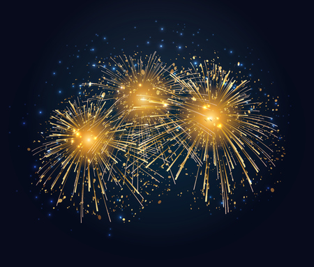 Vector Holiday Fireworks Background. Happy New Year 2019