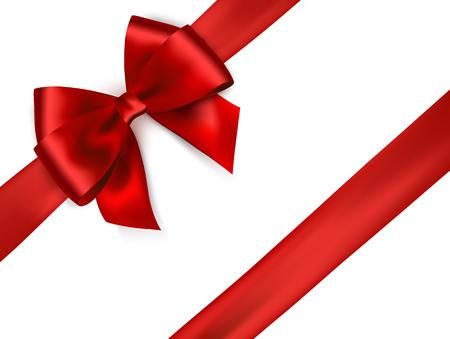 Ruban de satin rouge brillant sur fond blanc. Arc et ruban de vecteur rouge.