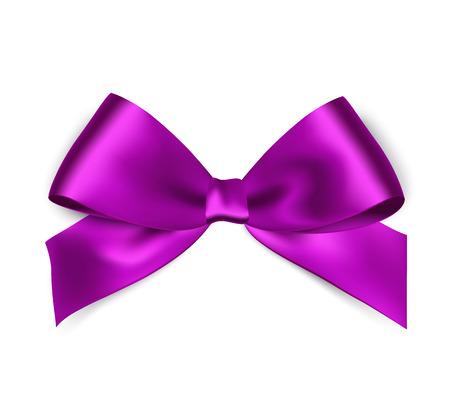Cinta de raso púrpura brillante sobre fondo blanco. Cinta y lazo rojo del vector. Ilustración de vector