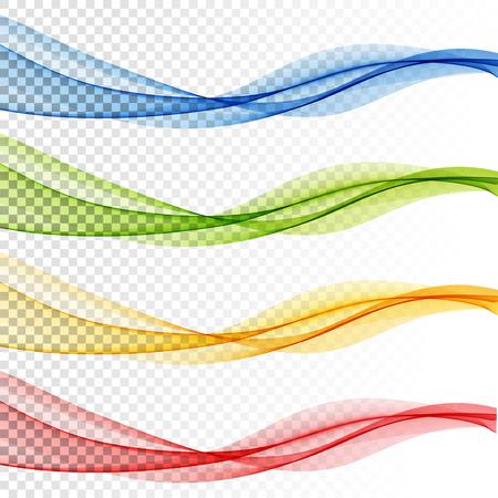 Conjunto de onda de vector abstracto, líneas onduladas de flujo de color para folleto, sitio web, diseño de volante. Onda suave transparente