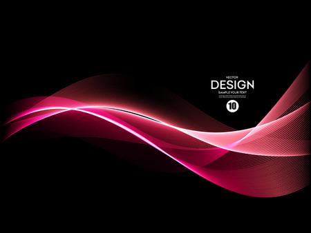 Vector Abstract shiny color pink wave design element on dark background. Science or technology design Illustration