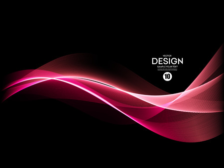 Vector Abstract shiny color pink wave design element on dark background. Science or technology design Иллюстрация