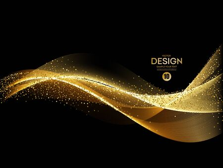Abstract shiny color gold wave design element 向量圖像