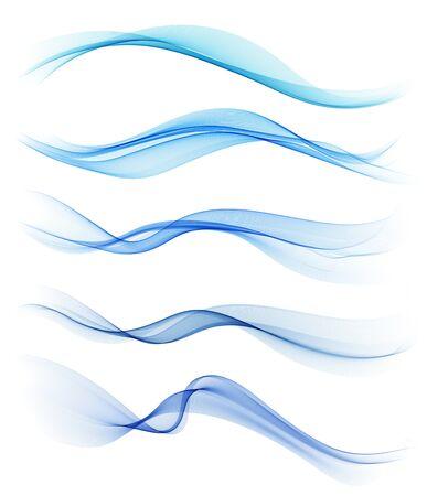 Conjunto de elemento de diseño de onda abstracta azul Ilustración de vector