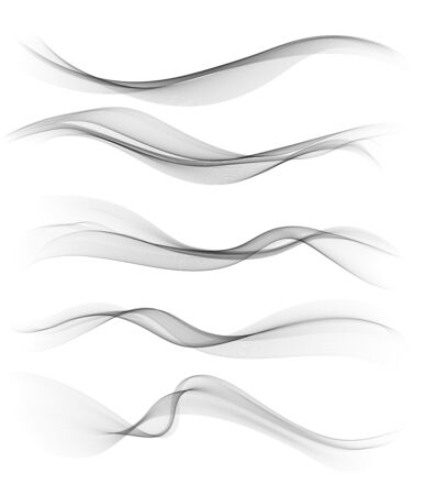 Set of gray abstract wave design element Ilustrace