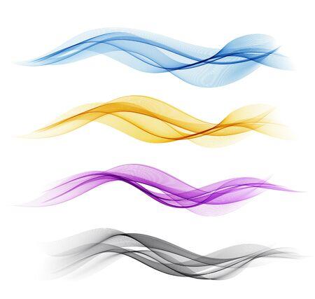 Vektor-Satz des abstrakten Wellengestaltungselements der Farbe. Abstrakter Hintergrund, Wellenlinien des Farbflusses für Broschüre, Website, Flyerdesign. Transparente glatte Welle. Lila, Gold, Blau