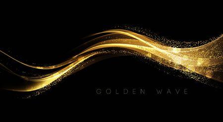 Abstraktes glänzendes Farbgoldwellengestaltungselement mit Funkelneffekt auf dunklem Hintergrund.