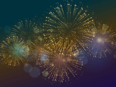 Vector Holiday Fireworks Background. Happy New Year, Independence Day festive background Vetores