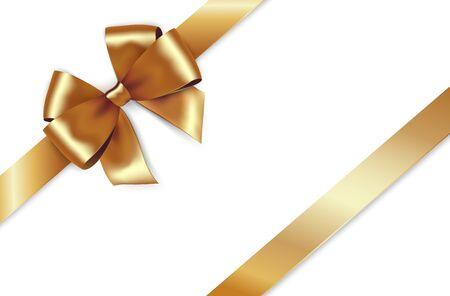 Ruban de satin doré brillant. Vector isoler l'arc d'or pour la conception de voeux et carte de réduction